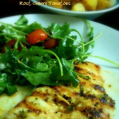 Grilled Chicken with Roast Cherry Tomatoes and Arugula