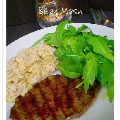 Minute Steak and Garlic Bean Mash