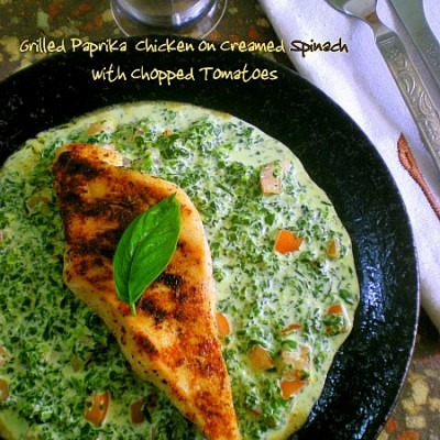 Grilled Paprika Chicken on Creamed Spinach & Chopped Tomatoes