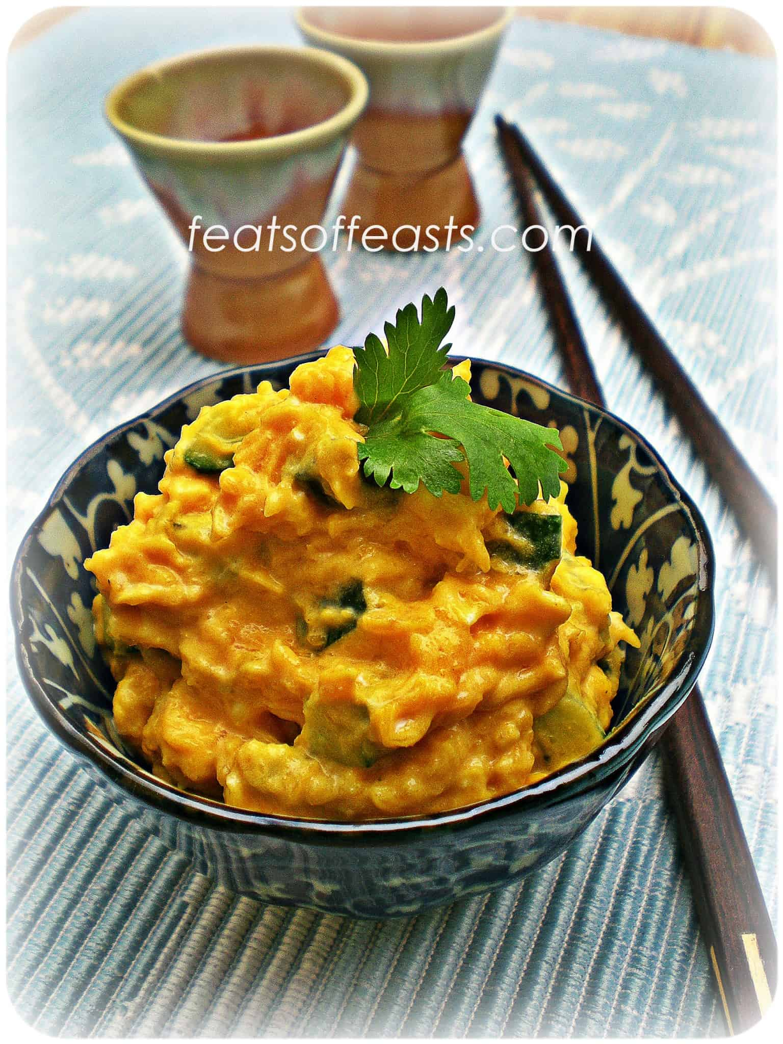 Mashed Pumpkin with Cucumber and Egg