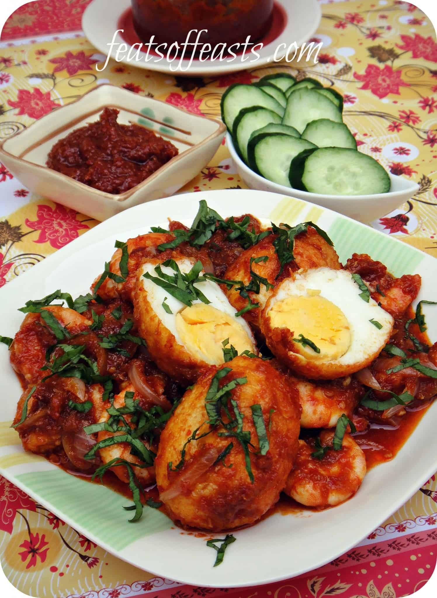 Sambal Egg and Prawns