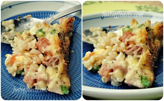 baked rice on dish Collage